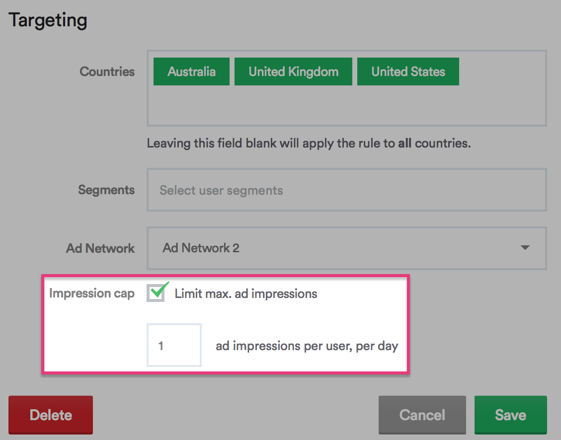 impression capping for ad networks