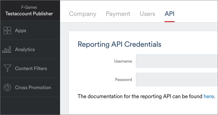 Select Reporting API Credentials