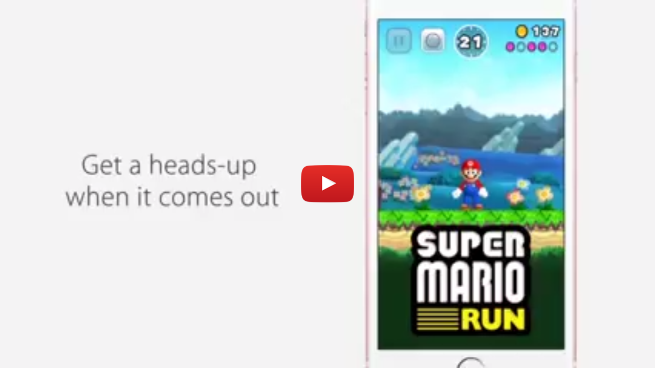 Nintendo Super Mario Run mobile video ad creative title card