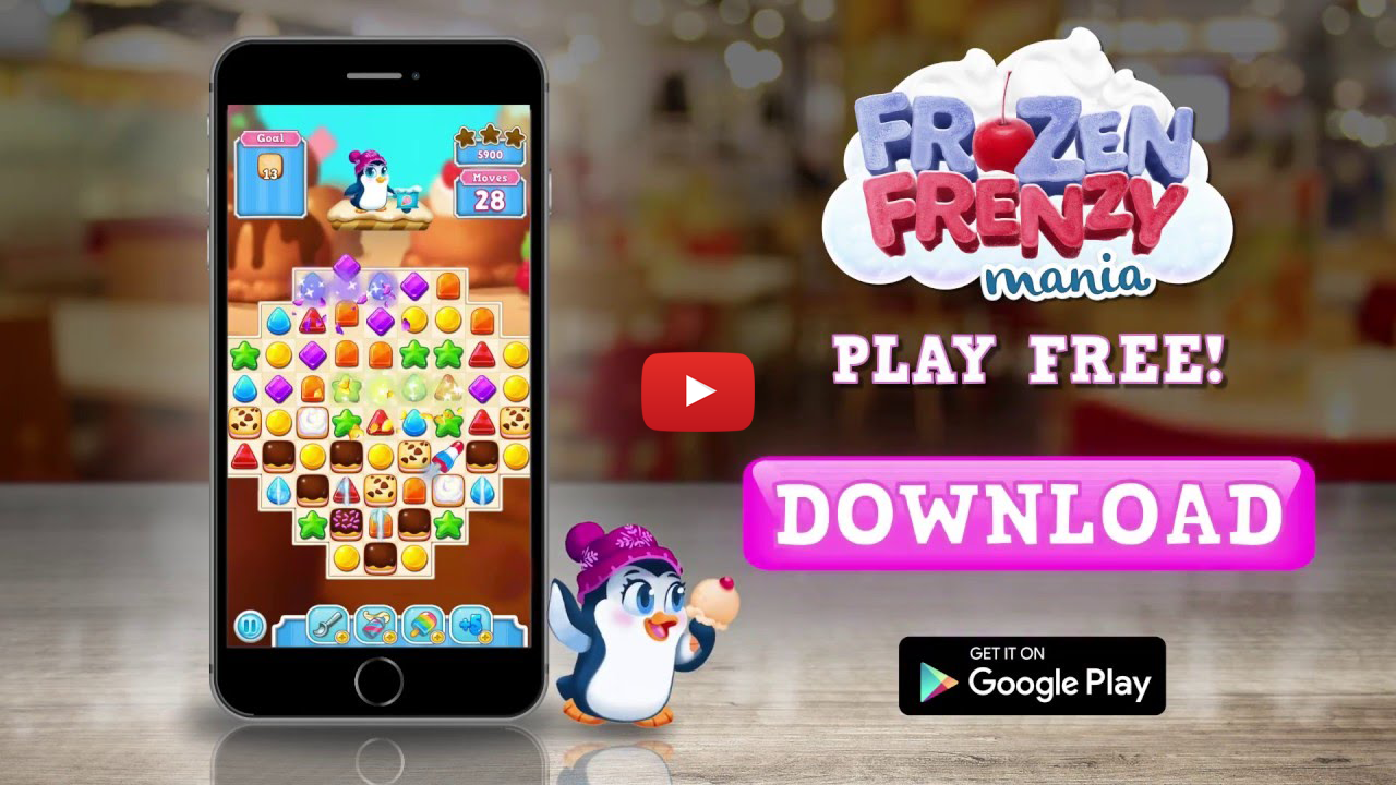 Storm8 Frozen Frenzy Mania mobile video ad creative button color
