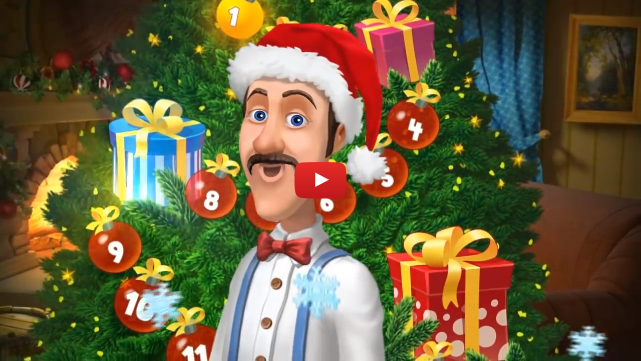 Playrix Gardenscapes holiday-themed video ad creative