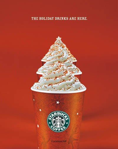 Starbucks holiday-themed mobile display ad creative